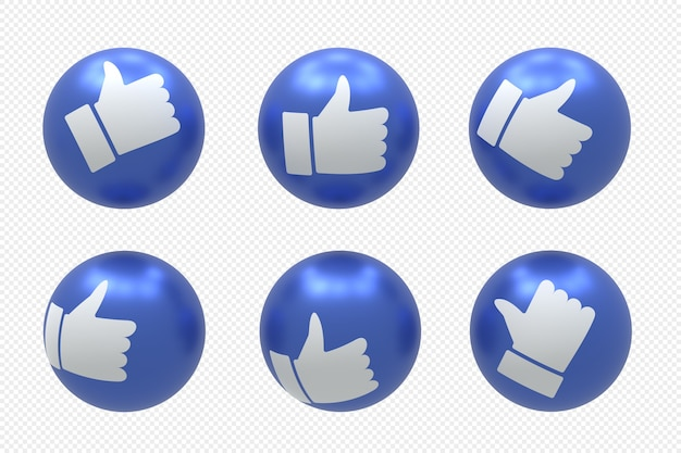 Facebook social media logo set in 3d rendering