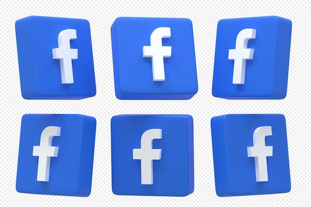 3d 렌더링에서 설정된 facebook 소셜 미디어 로고