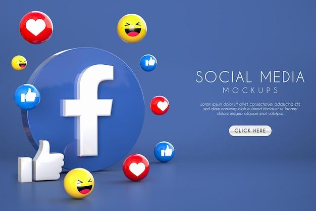 Facebook social media logos emoji like and love mockups