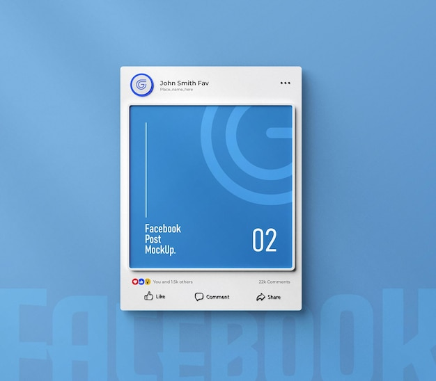 Facebook social media post mockup 3d rendered interface isolated