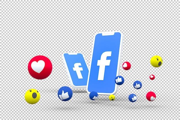 画面上のfacebookのシンボルスマートフォンまたはモバイルとfacebookの反応3 dレンダリング
