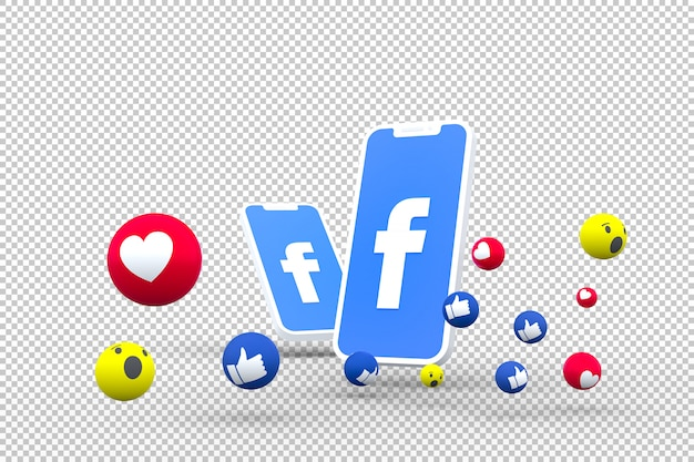 Facebook symbol on screen smartphone or mobile and facebook reactions 3d render