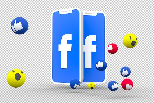 Facebook symbol on screen smartphone or mobile and facebook reactions love,wow,like emoji 3d render