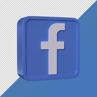 Facebook transparent 3d square shaped social media logo