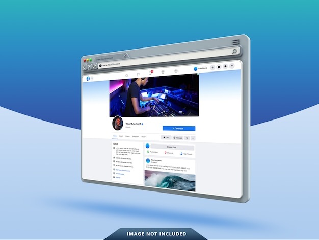Facebook ui template on 3d web browser mockup