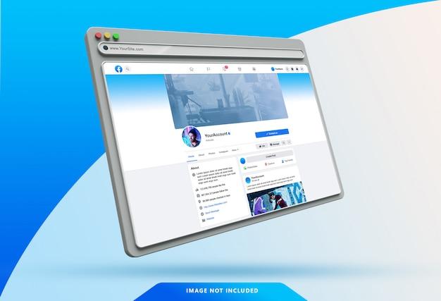 Шаблон пользовательского интерфейса facebook на 3d-макете веб-браузера