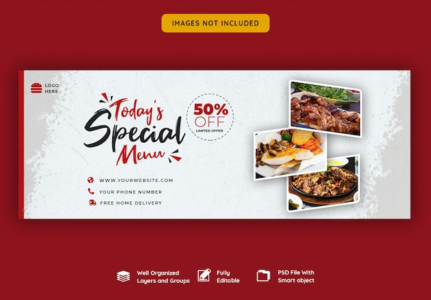 Шаблон обложки facebook для ресторана и еды