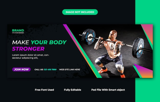 Шаблон дизайна обложки для фитнеса facebook