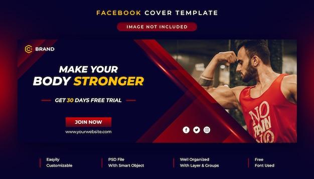 Пост в социальных сетях в спортзале и фитнесе и шаблон обложки в facebook