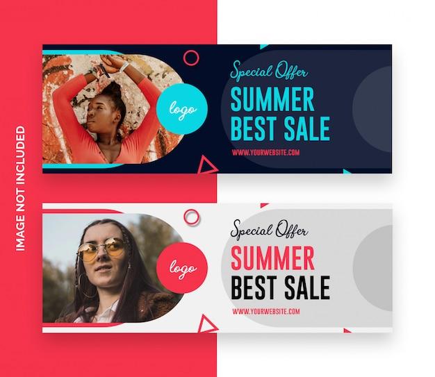 Летняя мода facebook график времени обложка баннер