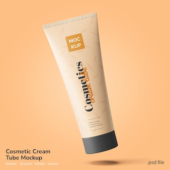 Facial beauty and spa cosmetics lotion cream tube brand product mockup floating