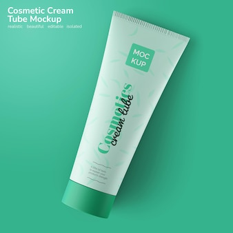 Facial skin body care cosmetic cream tube product package mockup