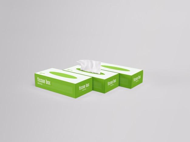 Facial tissue box packaging mockup