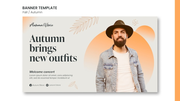 Fall autumn template design of banner