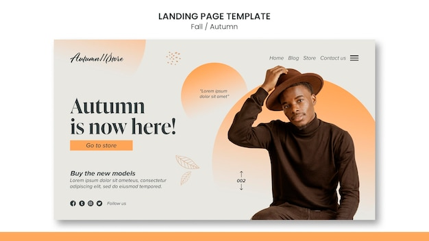 Fall autumn template design of landing page