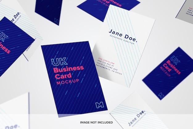 Falling business cards mockup