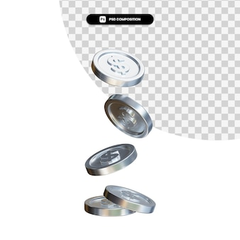 Falling coins 3d rendering isolated