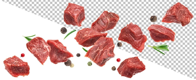 Falling diced beef meet cubes of raw beef