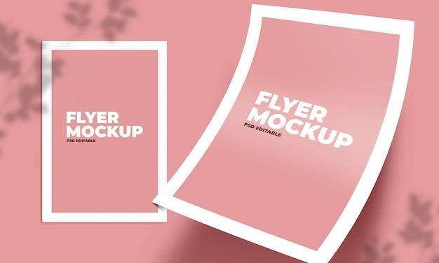Falling flyer mockup макет на розовый