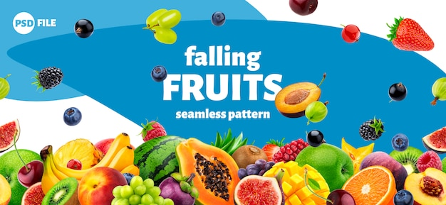 Falling fruits and berries packaging design