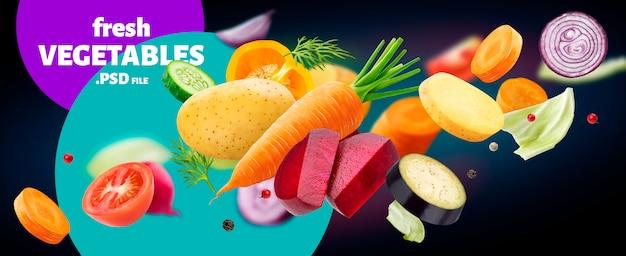 Падение смесь различных овощей, изолированных на черном фоне