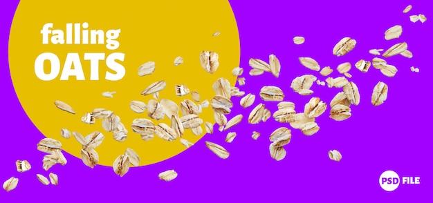 Falling oat flakes, oatmeal isolated