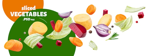 Falling pieces of different vegetables isolated