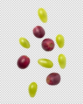Falling red and green grapes for your design