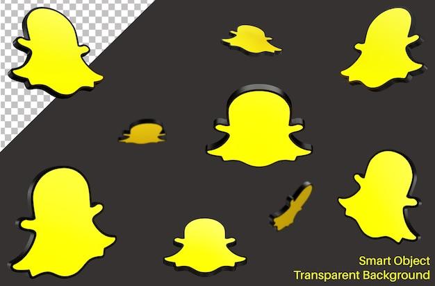 Snapchatソーシャルメディアの3dスタイルのロゴ