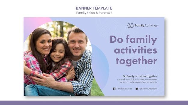 Modello di banner di famiglia con foto