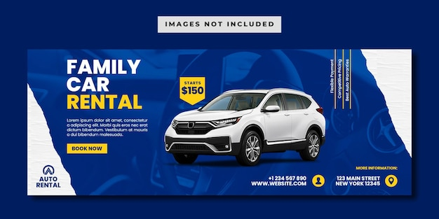 Family car rental social media facebook banner template