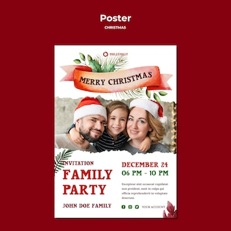 Family christmas party poster print template