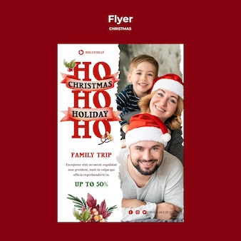 Family christmas trip poster print template