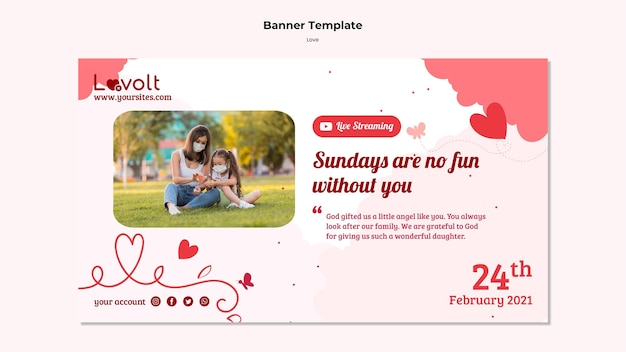 Family horizontal banner template