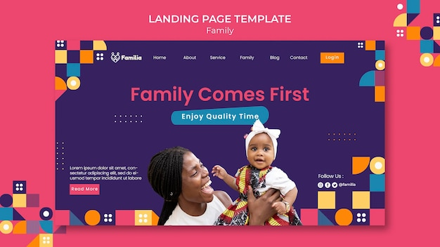 Family inspired landing page template