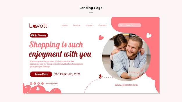 Family landing page template