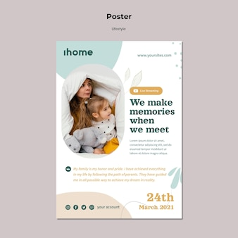 Family lifestyle poster template