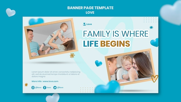 Family love concept banner template