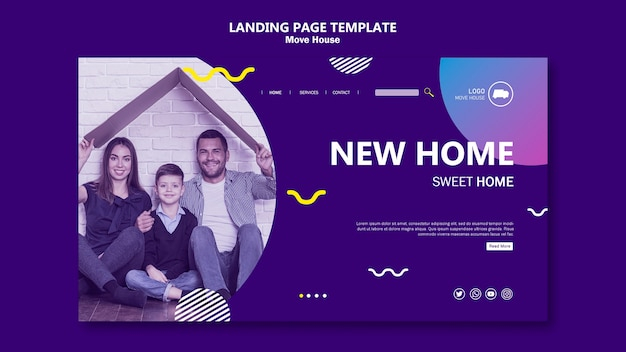 新しい家のランディングページに移動する家族