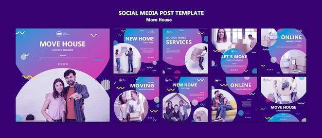 새로운 홈 소셜 미디어 게시물에서 이사하는 가족
