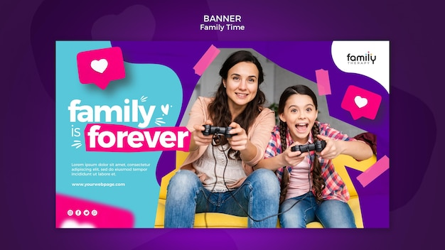 Family time concept banner template