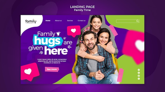 Family time concept landing page template