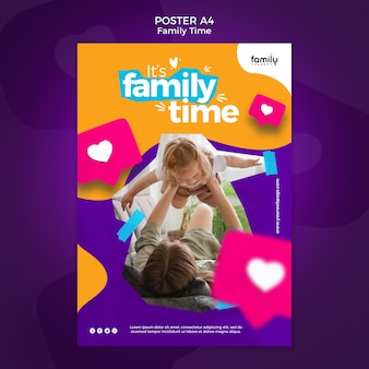 Family time concept poster template