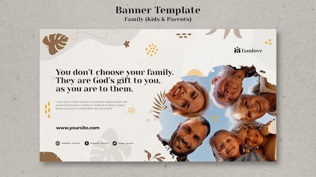 Famiglia con modello di banner per genitori e bambini