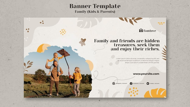 Family with parents and kids banner template