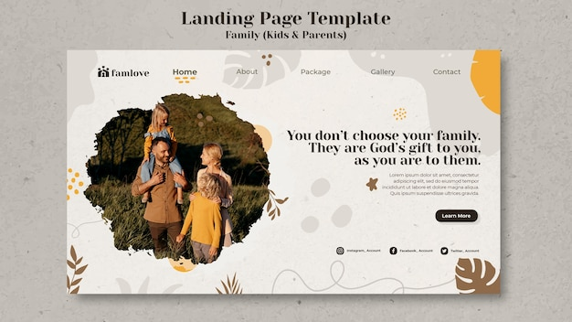 Family with parents and kids landing page template