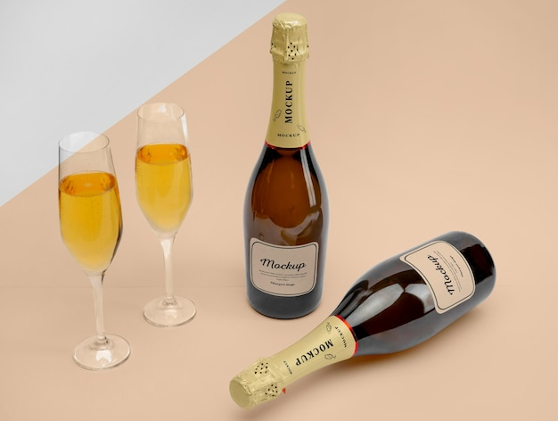 Fancy champagne bottles with mock-up