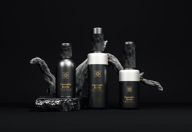 Fancy cosmetic bottle packaging mockup