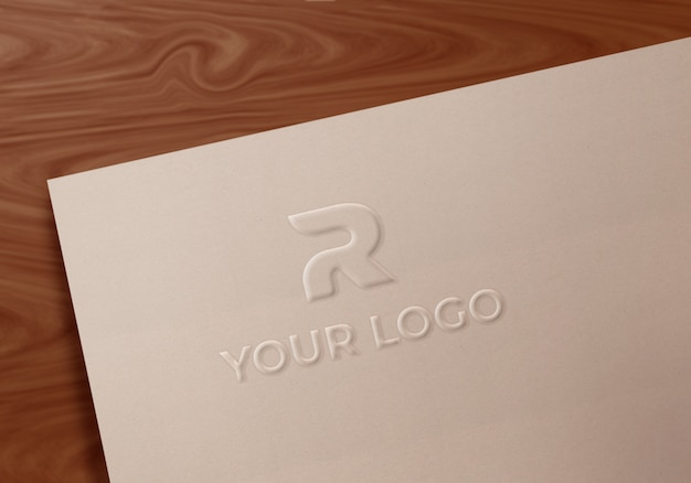 Fancy embossed art paper logo mockup