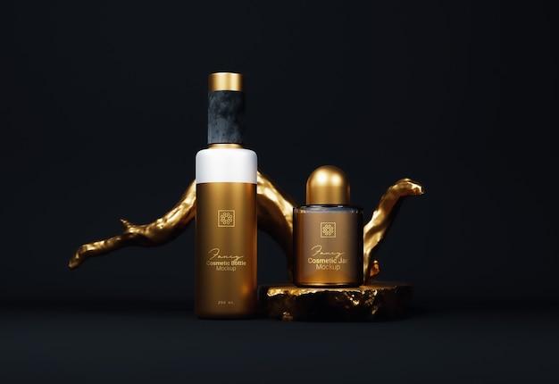 Необычные золотые косметические бутылки упаковка мокапа вид спереди